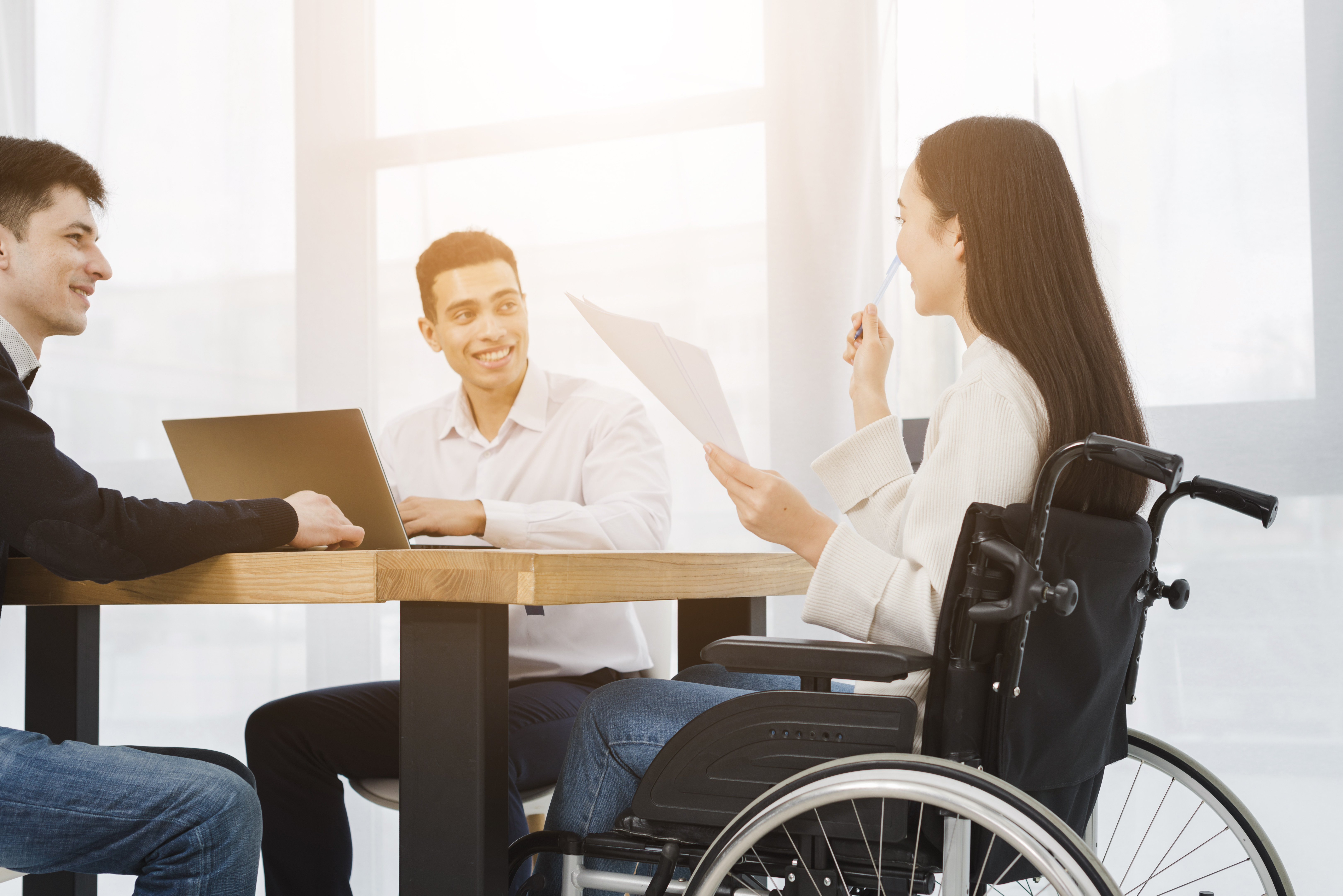 Team meeting, people with disabilities