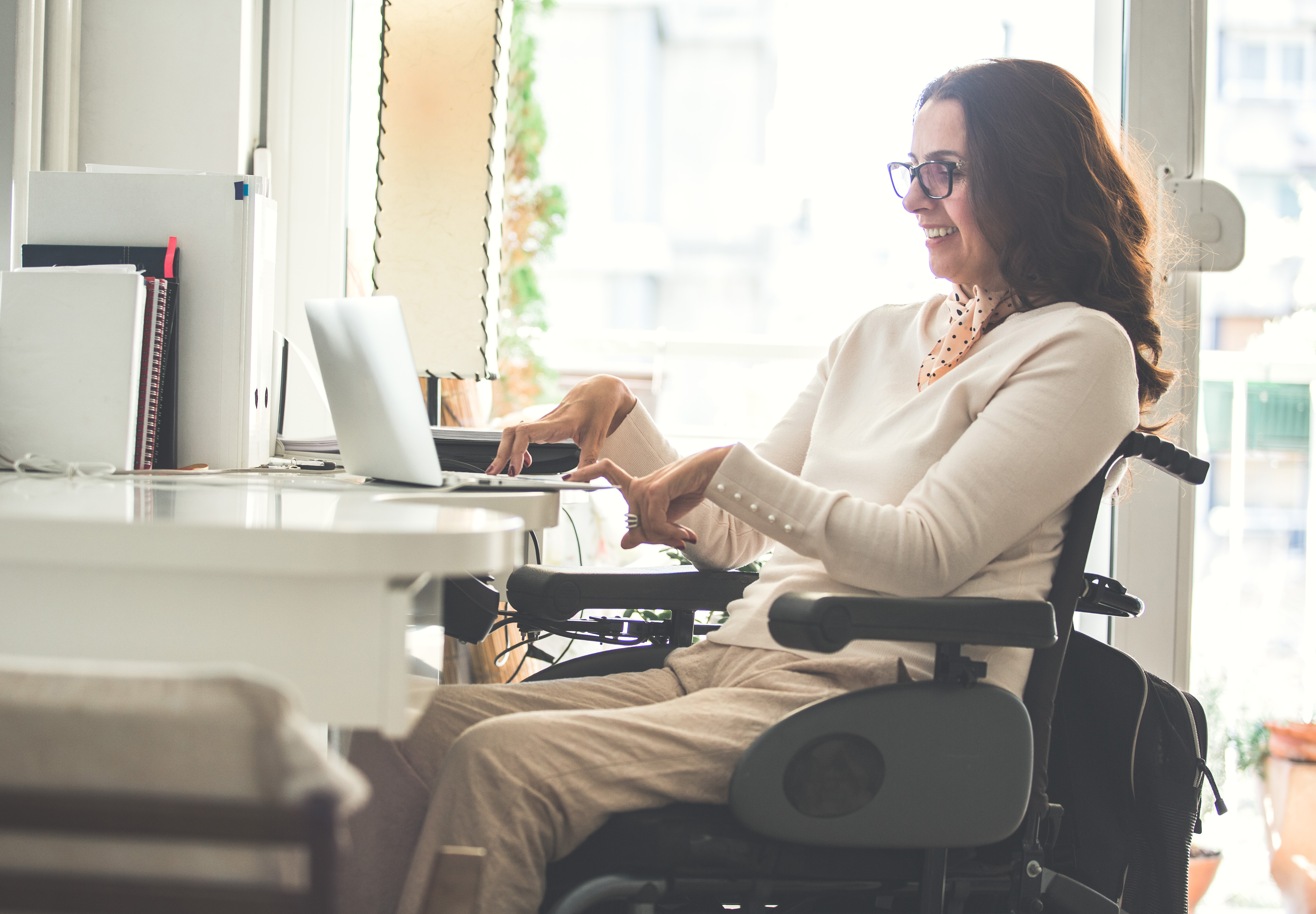 Woman with disability working